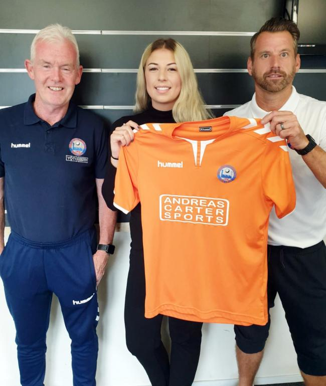 New Braintree Town physio Hannah Travell is welcomed to the club by manager Glen Driver (right) and assistant boss Tony Kinsella. Picture: Braintree Town FC