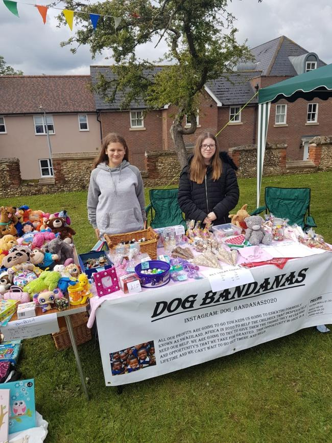 Fundraising efforts: Kelsey Jarvis, left, and Siena Harding have been holding stall sales to raise money for a trip to the African nation of Eswatini - formerly known as Swaziland