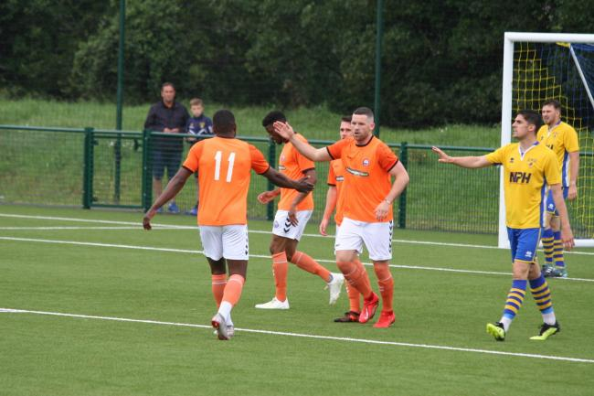 Tom Richardson celebrates putting Braintree two goals ahead. Picture: Jon Weaver