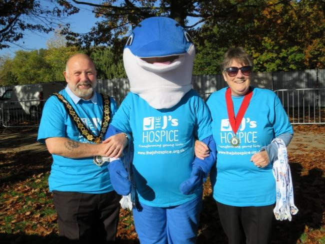 HOSPICE BOOST: Former Witham mayor Tom Pleasance with wife Jenny Pleasance and The J's Hospice mascot Dynamo (centre). Mr Pleasance's year in office saw a series of events raise £3,000 for the charity