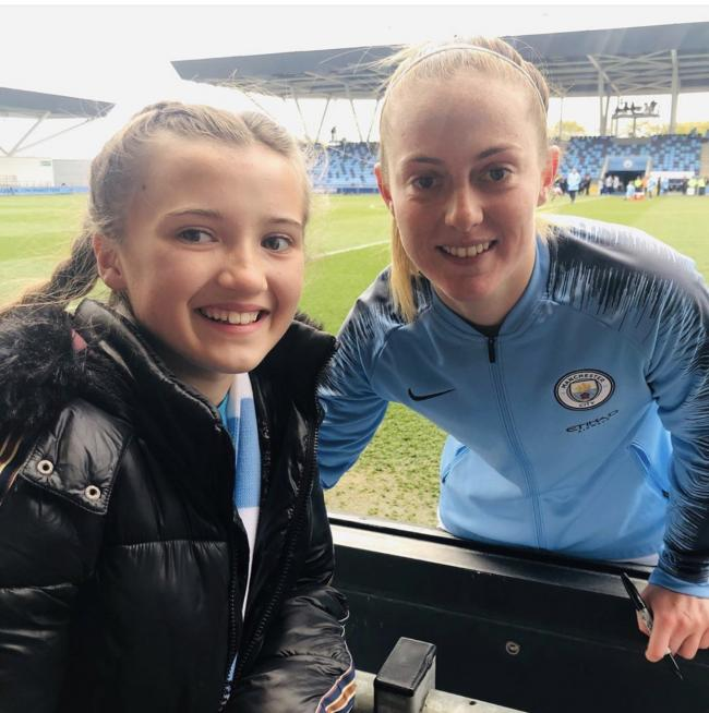 Sporting campaign: Leyla Priest, 11, of Genders Unite, with Manchester City and England midfielder Keira Walsh