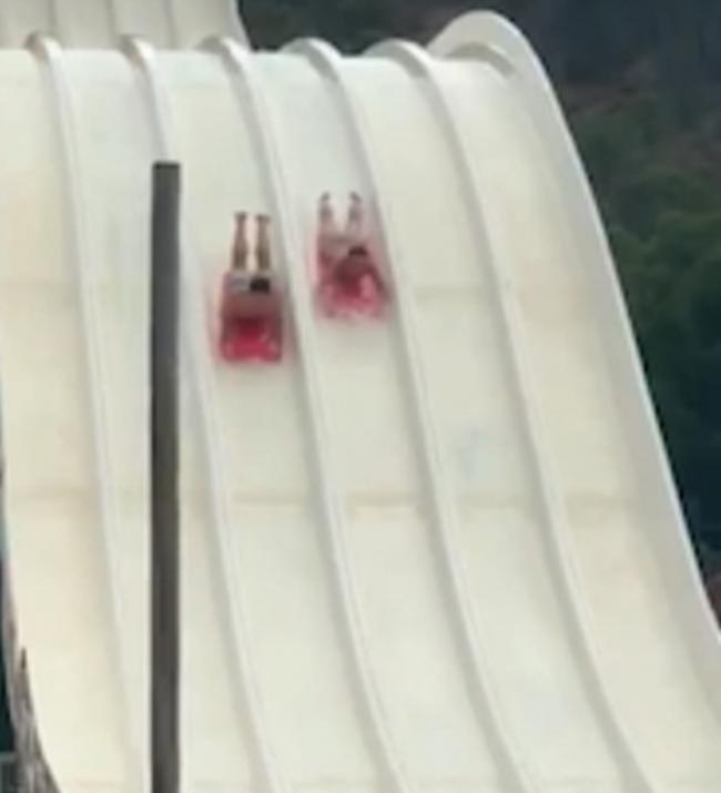 Moments from catastrophe - David on the water slide
