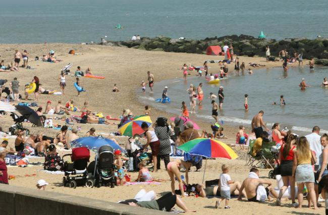 Clacton beach on the hottest day of the year.