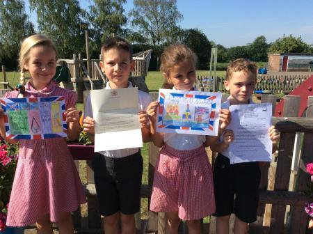 Royal correspondence: Pupils at Silver End Primary School with their letter from the Queen