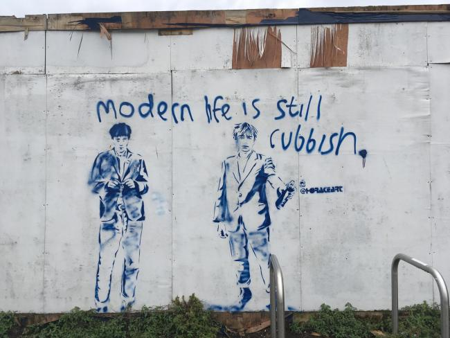 "Icons - Graham Coxon and Damon Albarn have been immortalised in graffiti by ""Worthing's Banksy"" Horace. Picture: Felicity Monckton"