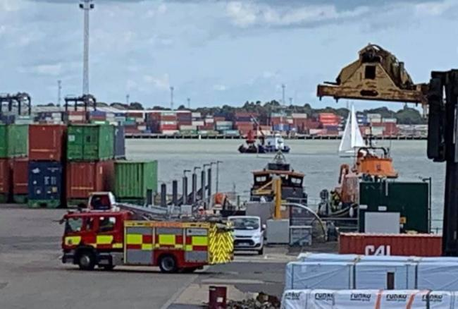 Emergency services : Graeme Richardson captured this image of Essex Fire Service on hand at Harwich Port