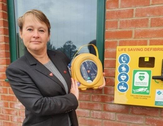 LIFE SAVING: Sarah Gott, Manager of Three Counties Crematorium and the Defibrillator