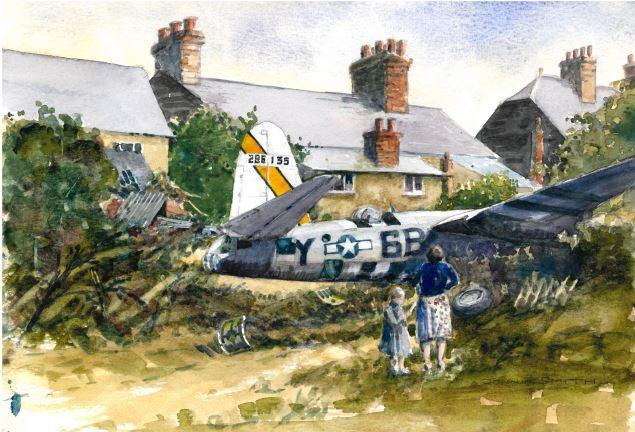 No fuel: John Smith's painting shows the B26 Marauder which ploughed into gardens in Grange Hill, Coggeshall