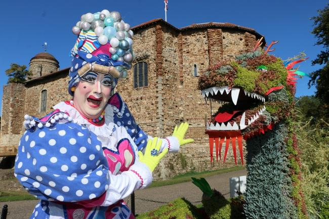 Laughs - Anthony Stuart-Hicks, pantomime dame, outside Colchester Castle