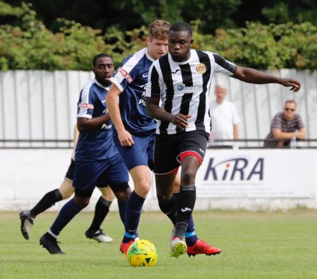 Alex Teniola was on target twice for Heybridge Swifts in the first half of their 4-1 win against Witham Town Picture: ALAN EDMONDS