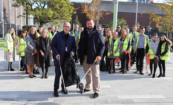 Cleaning - Mr Callaghan and Mr Harrison with the team of 20 council staff who joined the litter pick event