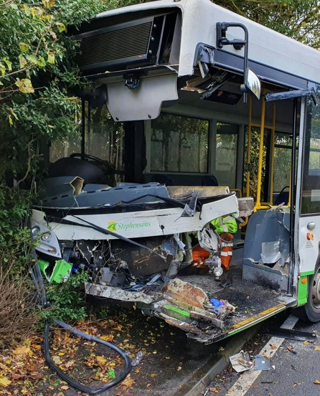 BUS STOP: A stephensons bus was involved in one of the collisions on Tuesday morning