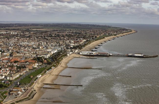 Nov 2019 aerial photography..Clacton seafront.
