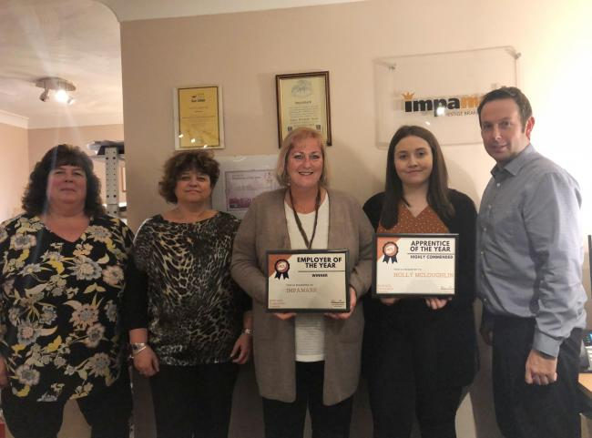 Impamark staff with their Employer of the Year certificate