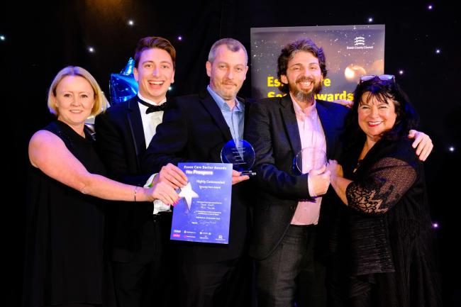 Heroes - representatives from Attwells Solicitors presented Paul Towse and Dave Cook with their awards alongside actress Amanda Waring who compered the evening (photo NICK STRUGNELL)