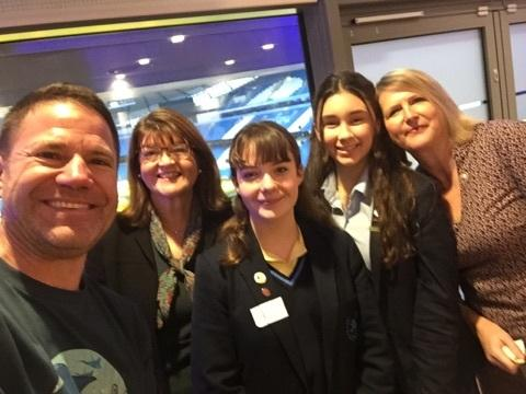 Eco-warriors - Steve Backshall, Hilary Vipond, students Olivia and Scarlett, and Sarah Wilding