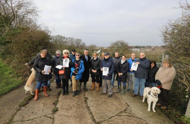 Concerned - residents and parish councillors at the tower site