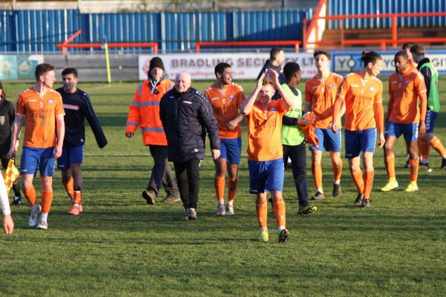 HAPPY DAYS - Braintree Town celebrate after sealing the victory over Bath City Picture: JON WEAVER