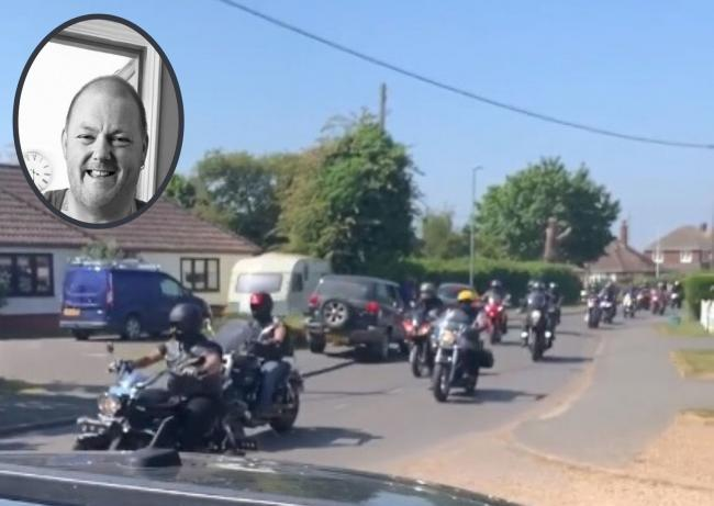 Tribute - more than 100 bikers led Gavin Smith's funeral cortege and (inset) Mr Smith