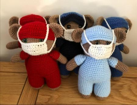 SCRUB BEARS: Sue and Lesley have rasied over £575 for Farleigh Hospice
