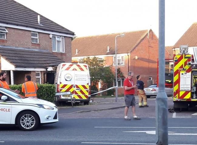 Man arrested on suspicion of attempted murder after van crashes into house. Picture: Lisa Jolly