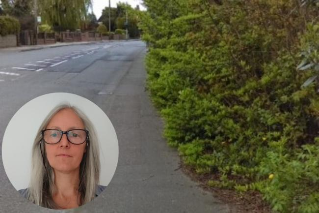 Concerned - Jo Wheatley (inset) and the overgrown pavement in Low Road, Dovercourt
