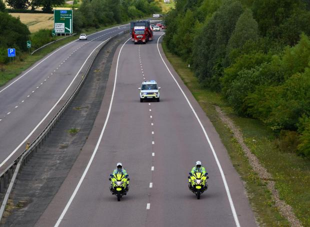 Braintree and Witham Times: Escort - Police escorted the large vehicle