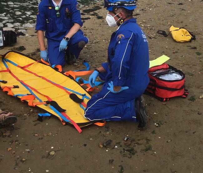 Elderly man rescued by coastguard after falling down rock embankment
