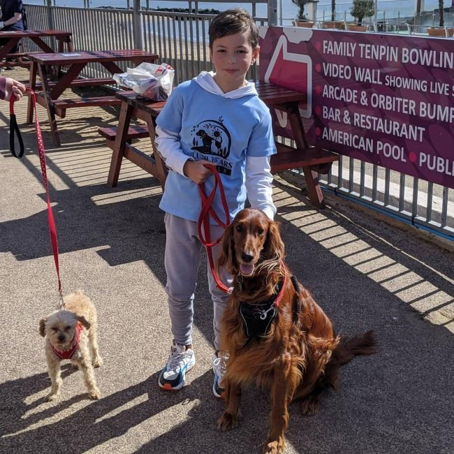 SUPER STROLLER : James Cartwright, with Teddy and Izzy, before setting off on his pier-to-pier walk