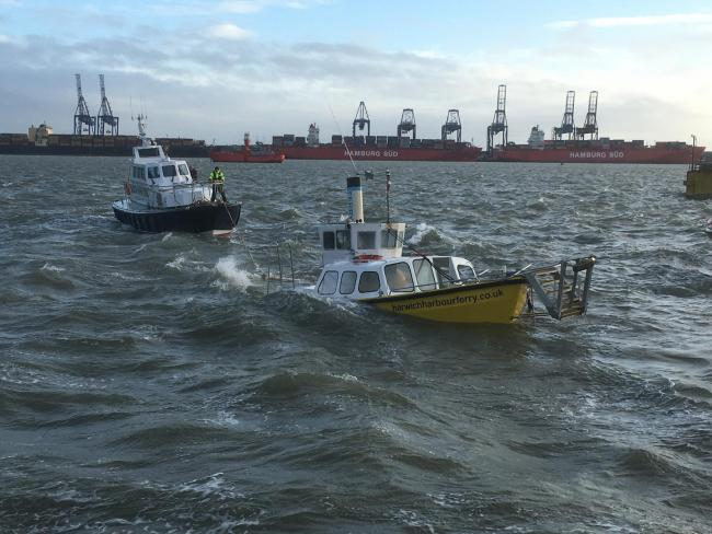 Tragic - the Harwich Harbour Ferry sinking into the sea in high winds