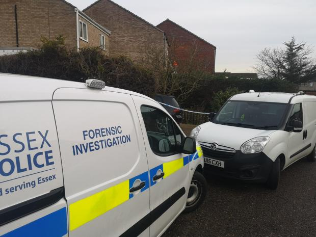 Braintree and Witham Times: Investigation - a police forensic van remained on the scene this morning
