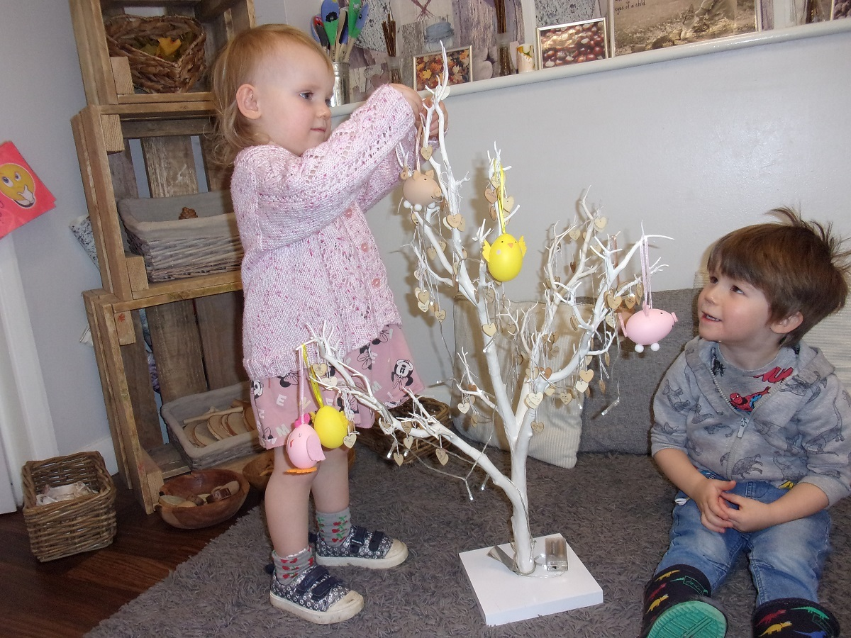 What a tree-t - Eloise King and Thomas Coates decorating the Easter tree at Busy Bees Day Nursery, in Stanway