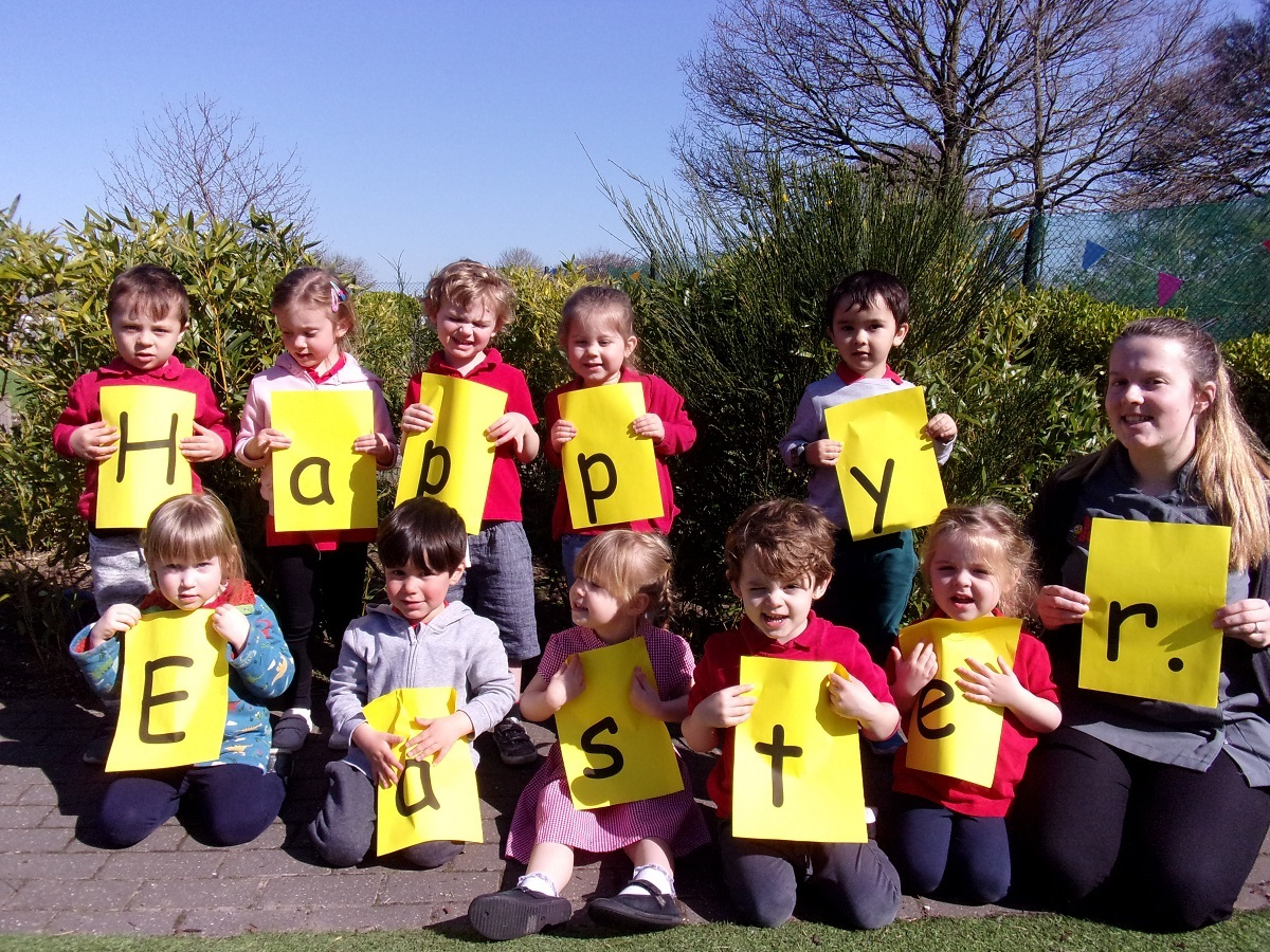 Chick this out - little ones have a special Easter message for the residents at New Copford Place. Pictured in the back row, from left, are Harry Kligerman, Eliza Atkinson, Elliott Purcell, Mila-Rose Mayatt and Stanley Arthurs. Front: Freyja Drake, Henry