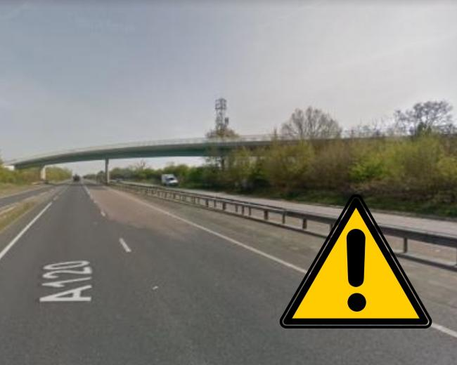 The A120 will close for several nights in May