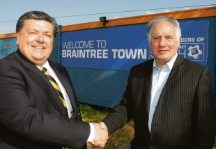 Braintree chairman Lee harding (left) with manager Alan Devonshire. Picture: Louise Smith