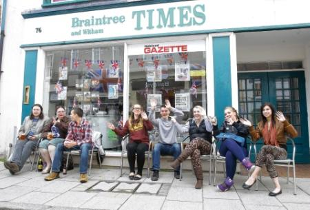 Revellers enjoy the music outside the Braintree and Witham Times office