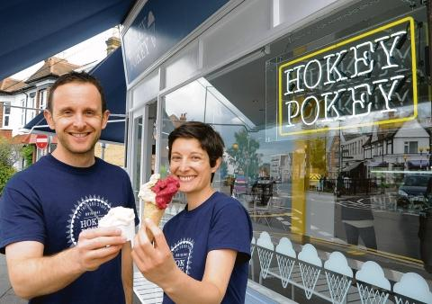 Joe and Lucy Donnelly outside their new ice cream parlour, Hokey Pokey Gelato, in Leigh