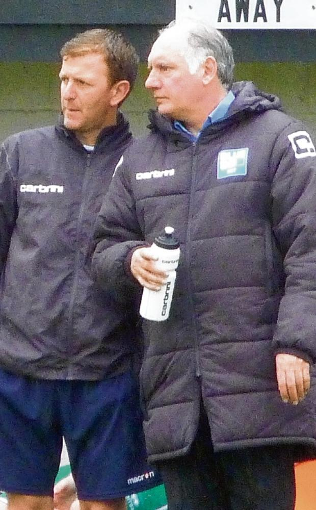 Braintree manager Alan Devonshire (right) and assistant boss Keith Rowland share their thoughts on the trial players looking to impress in the Iron's pre-season campaign. Picture: SIMON SPURGEON