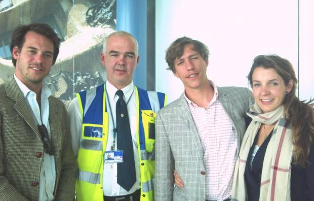 Prince Felix, Stansted Airport's Andy McPhee, Prince Louis and his wife Princess Tessy in Stansted's departure lounge