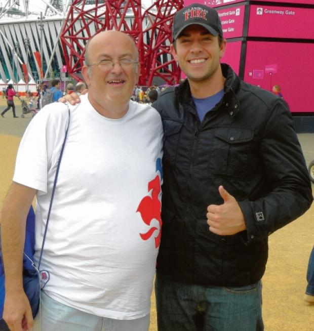 Conrad Readman (left) at the Olympic Park with Zachary Levi, from US TV series Chuck