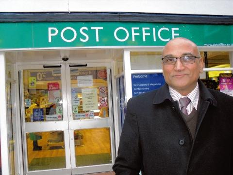 Jake Singh outside his Braintree town centre post office