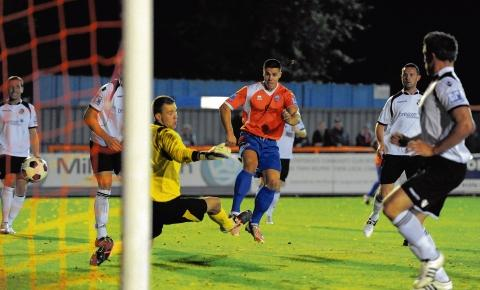 Dan Holman has an effort for Braintree on a frustrating night in the Blue Square Bet Premier. Picture: NEIL DADY