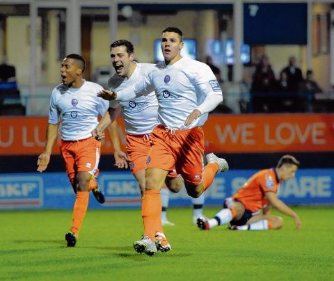Dan Holman celebrates firing Braintree into the lead at Luton. Picture: NEIL DADY