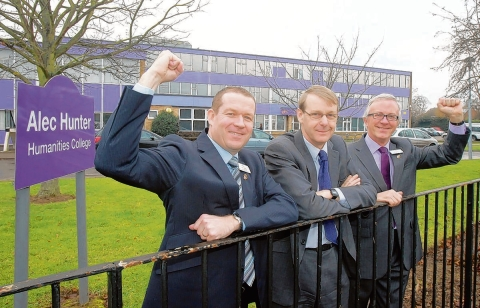 Alec Hunter headteacher,Trevor Lawn, Saffron Walden County High School head John Hartley, and Alec