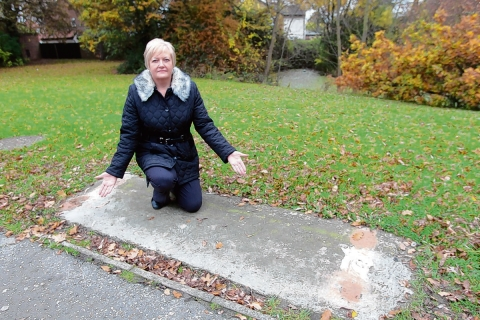 Debbie Wright where her late husband Barry's memorial bench used to be