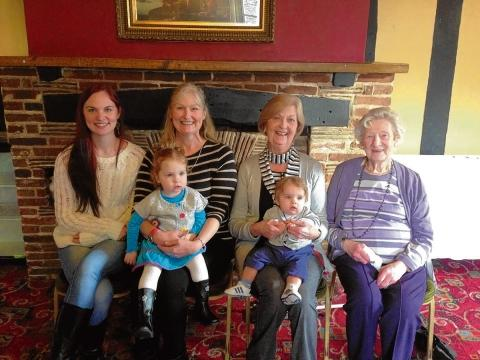 Katherine, her mum Helen, grandmother Mollie and great-grandmother Peggy with Madelynn and Elliott