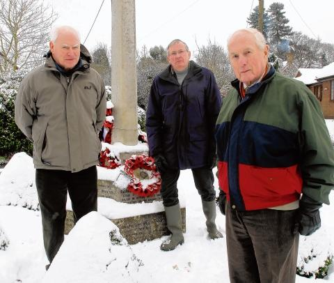 Royal British Legion members Frank Simpson (front) David Parsons (left) and Don Littlemore appeal for support