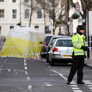 The scene of a stabbing in Pimlico, London, where a teenager was killed