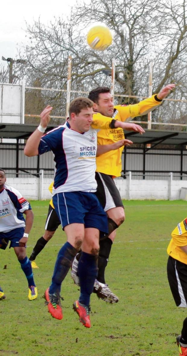 Two Rob Whitnell headers saw Witham win at Chatham. Picture: NIGEL BROWN