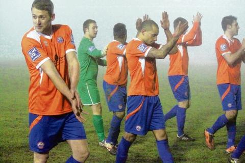 Braintree's players salute their fans after beating Grimsby 2-0 at the Amlin Stadium. Picture: ALAN STUCKEY